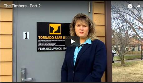 BRandy Alcorn showing tornado shelter in video
