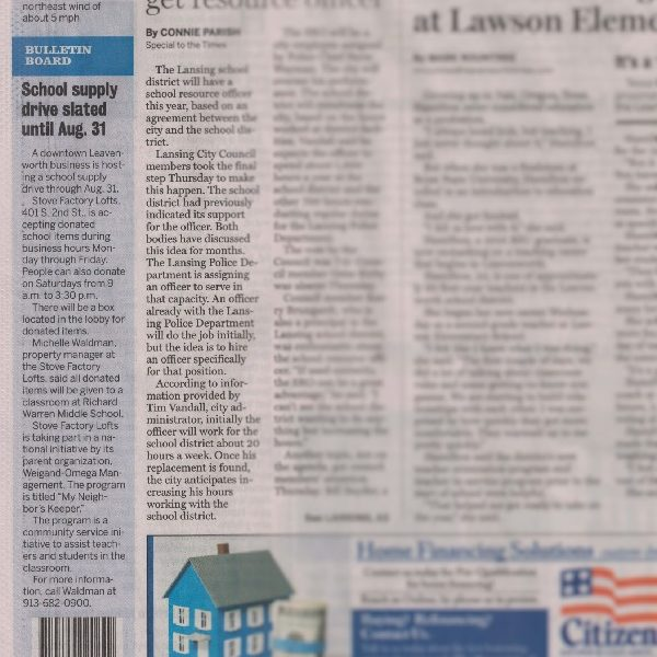 Leavenworth Times News Article about our teacher's dream list drive at stove lofts