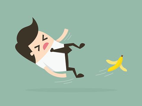 man slipping on banana peel cartoon