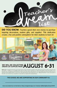 teacher's dream list poster 2018
