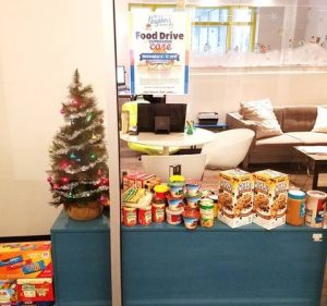 tree with food drive in office